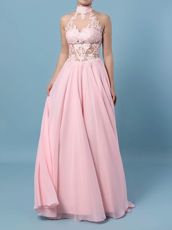 A-line High Neck Chiffon Floor-length Appliques Lace Prom Dresses #Favs020105092