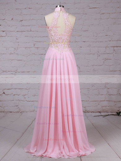 A-line High Neck Chiffon Tulle with Appliques Lace Prom Dress #Favs020105092