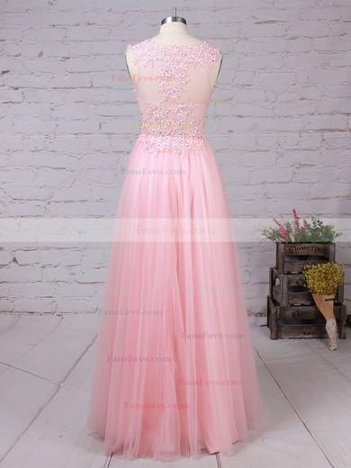 A-line V-neck Tulle Floor-length Beading Prom Dresses #Favs020105093