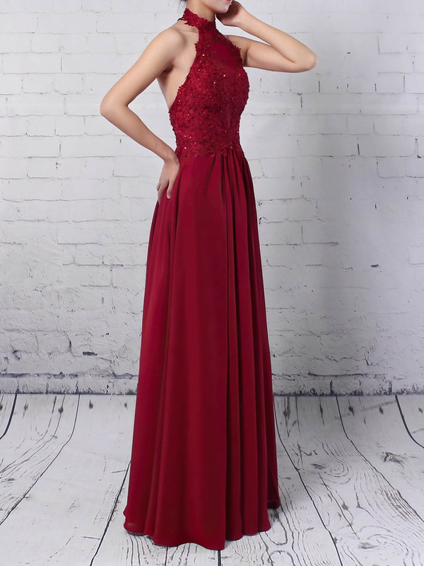 A-line Halter Chiffon Tulle with Appliques Lace Prom Dress #Favs020105094