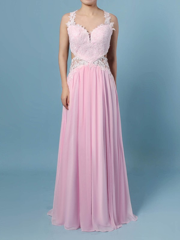 A-line V-neck Chiffon with Appliques Lace Prom Dress #Favs020105095