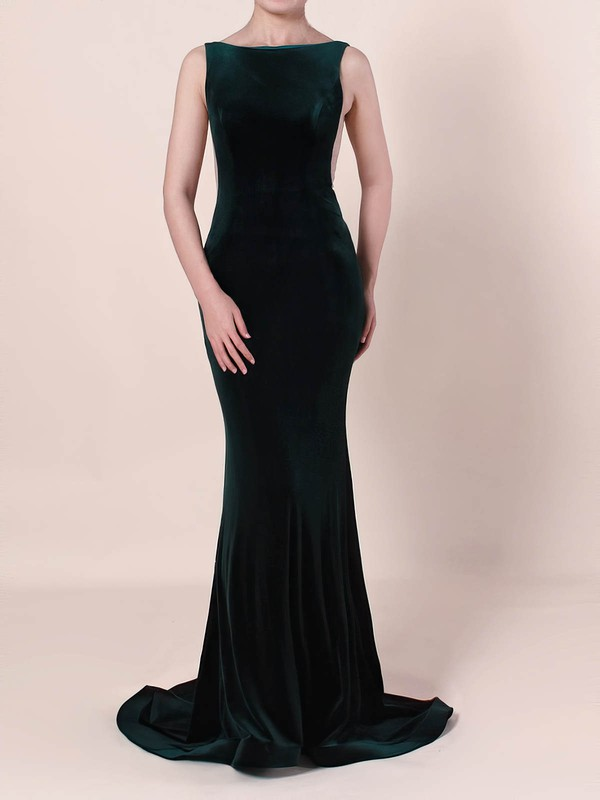 Trumpet/Mermaid Scoop Neck Tulle Velvet Prom Dress #Favs020105097