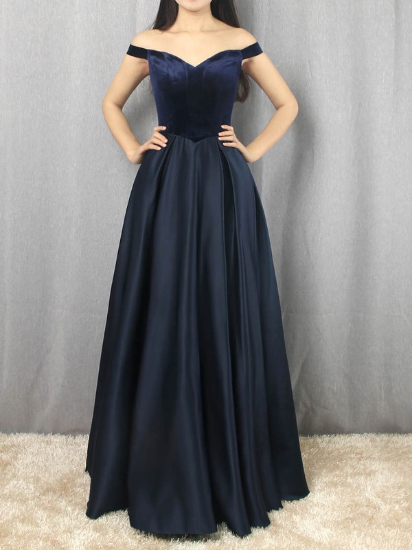 Princess Off-the-shoulder Satin Velvet with Draped Prom Dress #Favs020105101