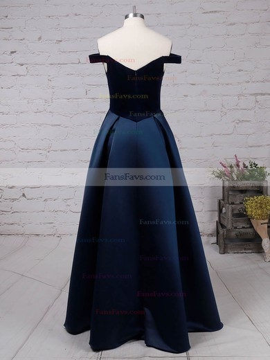 Princess Off-the-shoulder Satin Velvet Floor-length Pockets Prom Dresses #Favs020105101