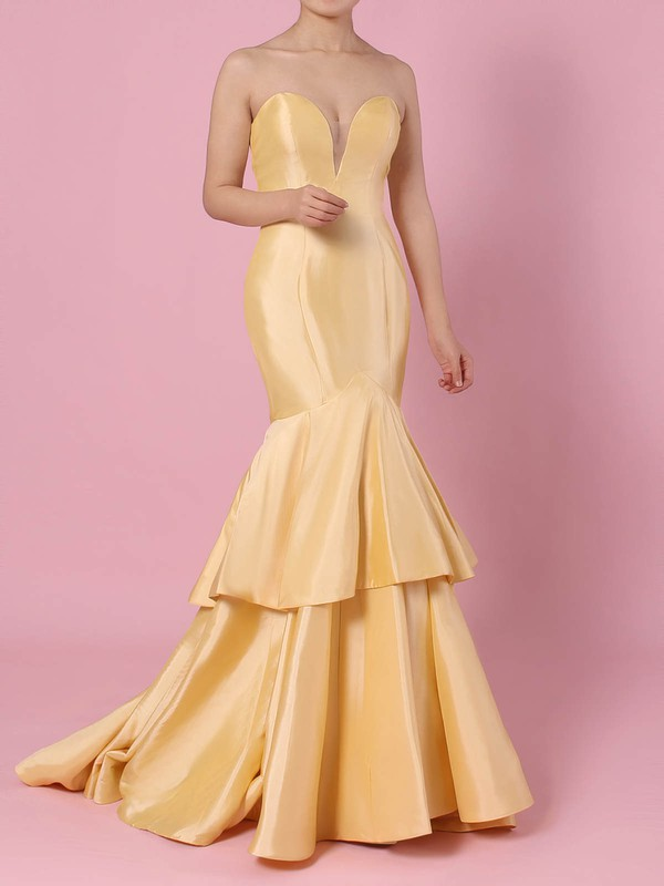 Trumpet/Mermaid V-neck Taffeta with Tiered Prom Dress #Favs020105103