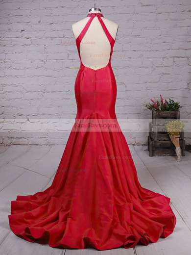 Trumpet/Mermaid High Neck Taffeta with Beading Prom Dress #Favs020105105