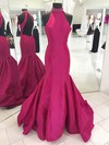 Trumpet/Mermaid High Neck Taffeta Sweep Train Beading Prom Dresses #Favs020105105
