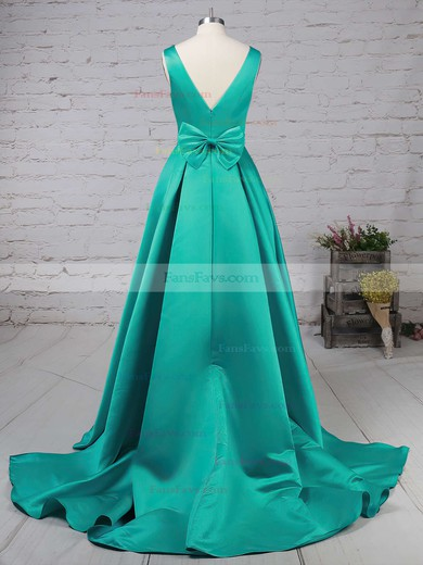 Princess V-neck Satin with Bow Prom Dress #Favs020105106