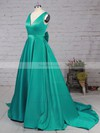 Princess V-neck Satin Sweep Train Bow Prom Dresses #Favs020105106