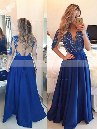 A-line Scoop Neck Chiffon Floor-length Appliques Lace Prom Dresses #Favs020101864