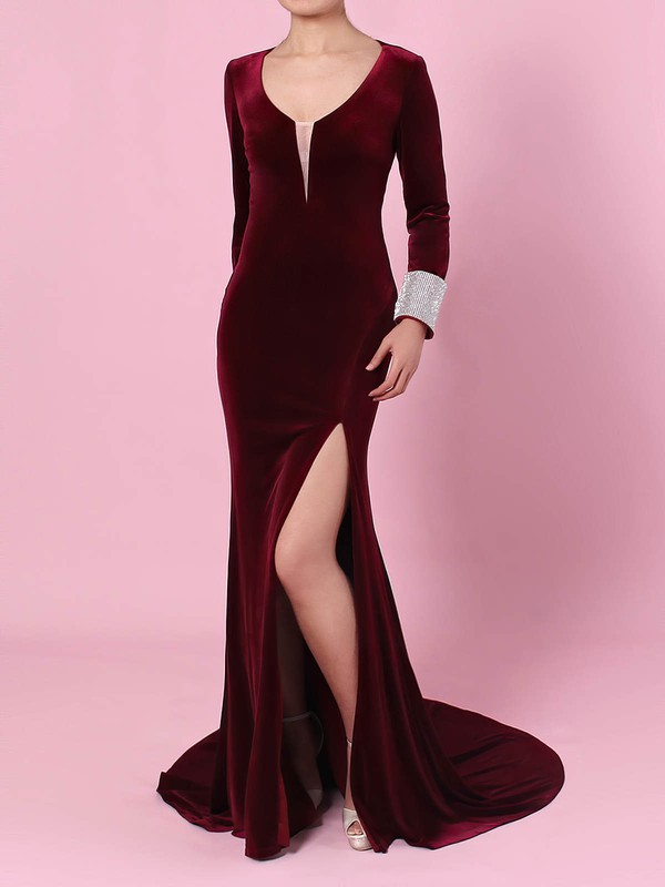 Sheath/Column V-neck Velvet with Beading Prom Dress #Favs020105108