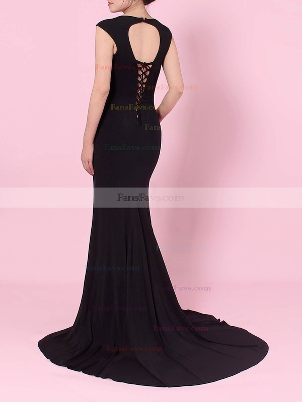 Trumpet/Mermaid V-neck Jersey Sweep Train Split Front Prom Dresses #Favs020105113