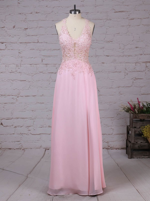 A-line V-neck Tulle Chiffon with Appliques Lace Prom Dress #Favs020105116