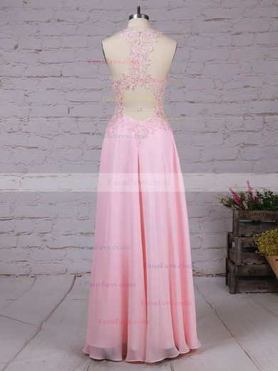 A-line V-neck Chiffon Floor-length Appliques Lace Prom Dresses #Favs020105116