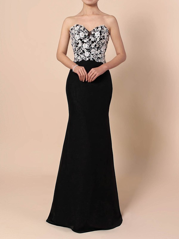 Sheath/Column Sweetheart Chiffon Floor-length Appliques Lace Prom Dresses #Favs020105120