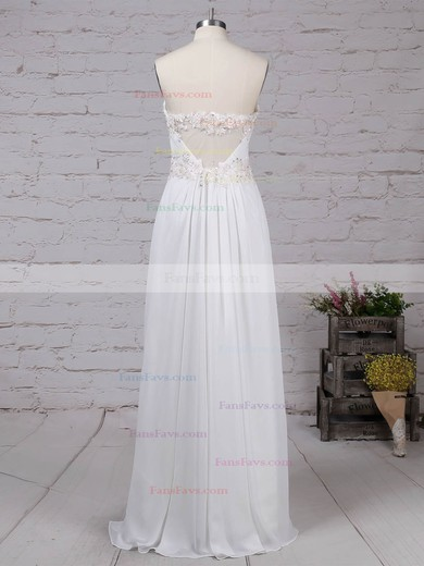A-line Sweetheart Chiffon Ankle-length Appliques Lace Prom Dresses #Favs020105121