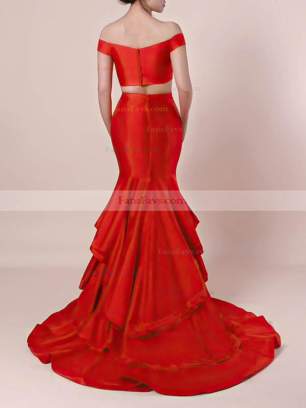 Trumpet/Mermaid Off-the-shoulder Satin Organza with Tiered Prom Dress #Favs020105124