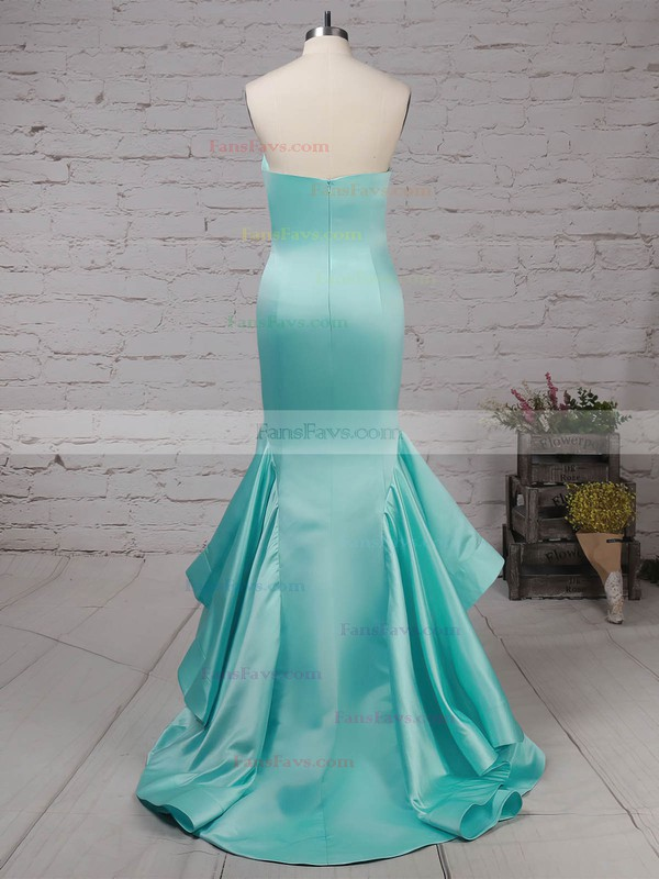Trumpet/Mermaid Strapless Satin with Draped Prom Dress #Favs020105127