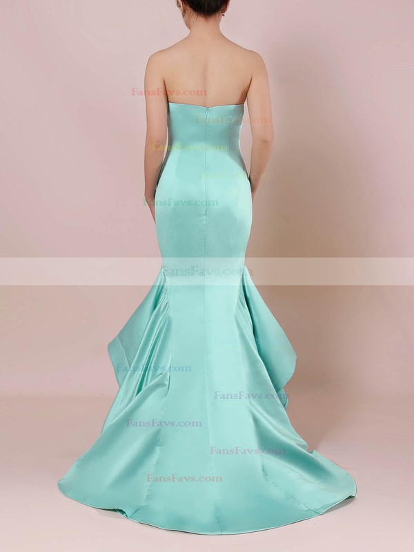Trumpet/Mermaid Strapless Satin Sweep Train Prom Dresses #Favs020105127