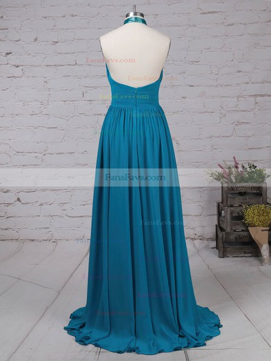 A-line Halter Chiffon with Ruched Prom Dress #Favs020105130