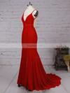 Trumpet/Mermaid V-neck Velvet Sweep Train Prom Dresses #Favs020105134