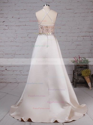 Ball Gown Scoop Neck Satin Tulle with Beading Prom Dress #Favs020105136