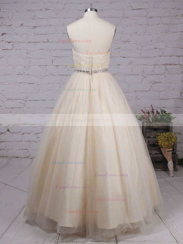 Ball Gown V-neck Lace Tulle Floor-length Beading Prom Dresses #Favs020105139
