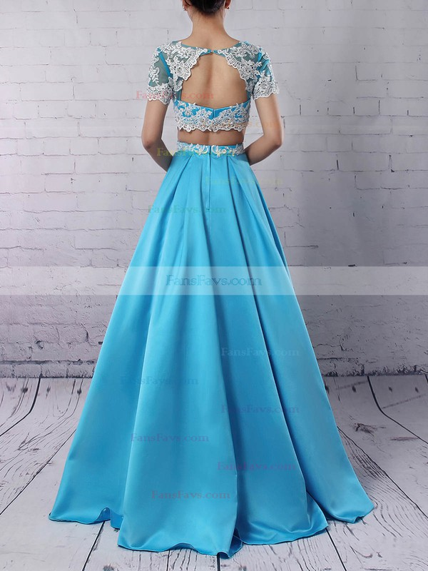 Ball Gown Scoop Neck Satin Floor-length Beading Prom Dresses #Favs020105140