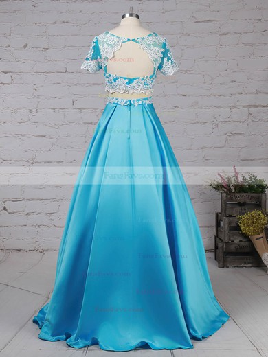 Ball Gown Scoop Neck Satin Tulle with Beading Prom Dress #Favs020105140