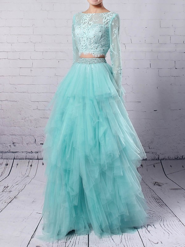 Princess Scoop Neck Tulle Sweep Train Beading Prom Dresses #Favs020105141
