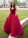 Ball Gown V-neck Organza Velvet Sweep Train Prom Dresses #Favs020105825