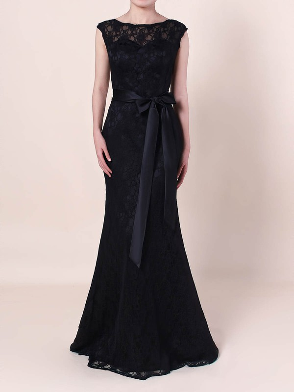 Sheath/Column Scoop Neck Lace with Sashes / Ribbons Prom Dress #Favs020105828