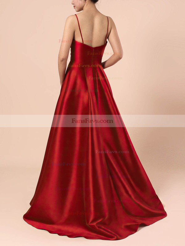 Princess V-neck Satin Sweep Train Prom Dresses #Favs020105830