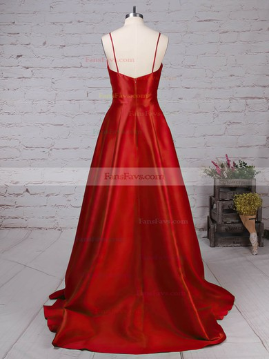 Princess V-neck Satin with Draped Prom Dress #Favs020105830