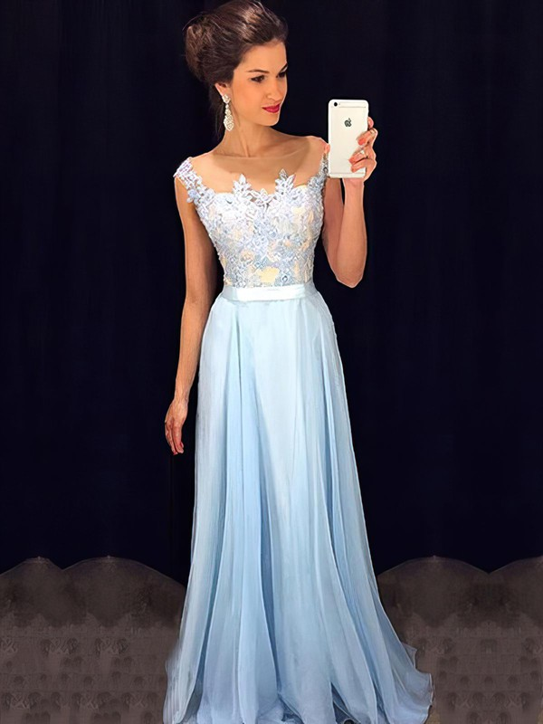 8f807be4027 A-line Scoop Neck Floor-length Chiffon Prom Dresses with Appliques Lace  Beading