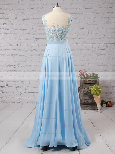 A-line Scoop Neck Floor-length Chiffon Prom Dresses with Appliques Lace Beading #Favs020101989