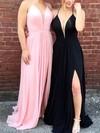 A-line V-neck Chiffon Floor-length Split Front Prom Dresses #Favs020105837