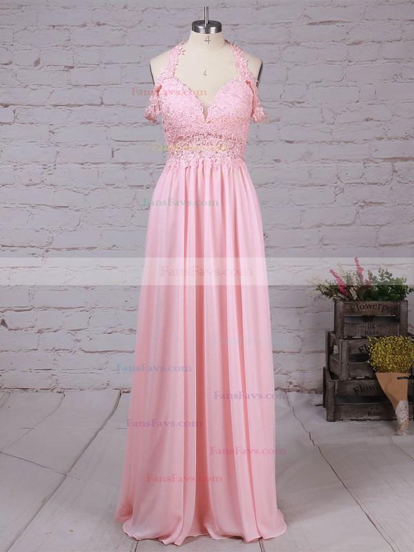 A-line V-neck Chiffon Floor-length Beading Prom Dresses #Favs020105842