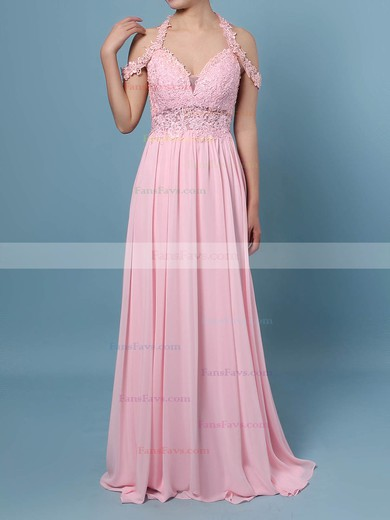 A-line V-neck Chiffon Tulle with Beading Prom Dress #Favs020105842