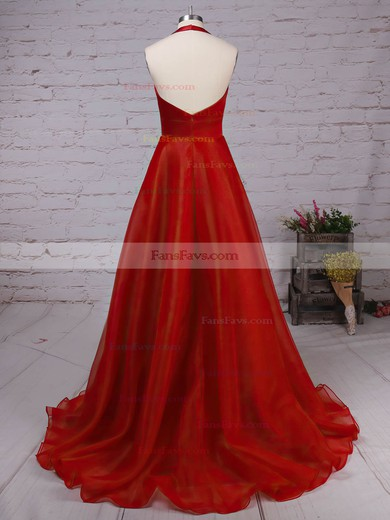 Princess Halter Satin Organza Sweep Train Prom Dresses #Favs020105847