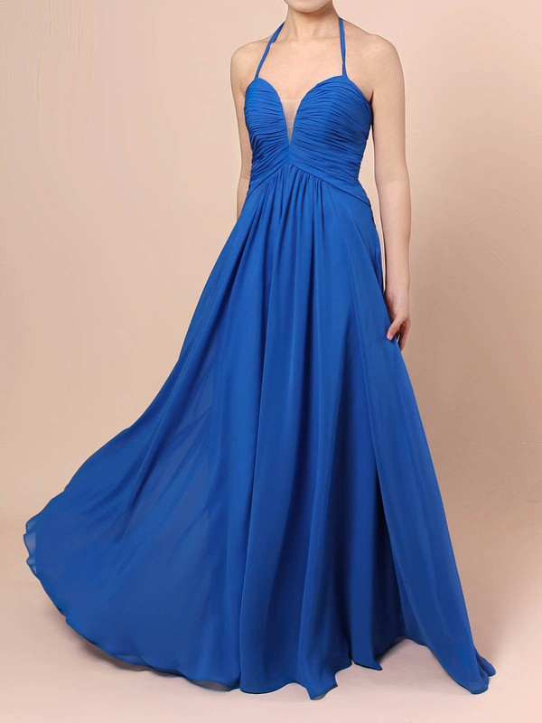A-line Halter Chiffon with Ruffles Prom Dress #Favs020105857