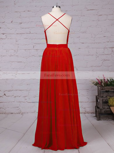 A-line V-neck Chiffon with Beading Prom Dress #Favs020105860