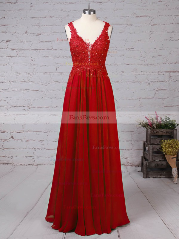 A-line V-neck Chiffon Tulle with Beading Prom Dress #Favs020105861