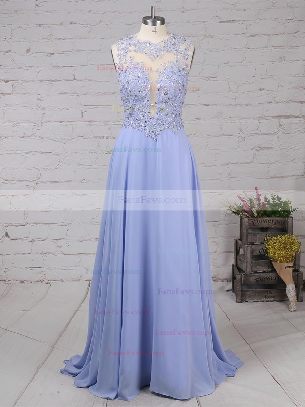 A-line Scoop Neck Sweep Train Chiffon Prom Dresses with Appliques Lace Beading #Favs020102055