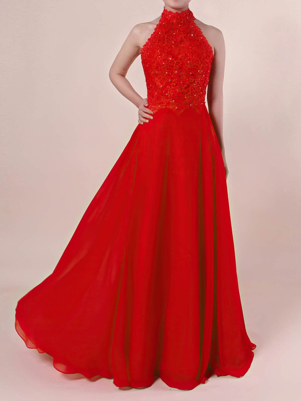 A-line High Neck Lace Chiffon with Beading Prom Dress #Favs020105863