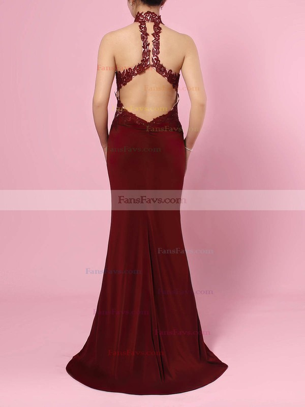 Sheath/Column High Neck Jersey Floor-length Beading Prom Dresses #Favs020105864