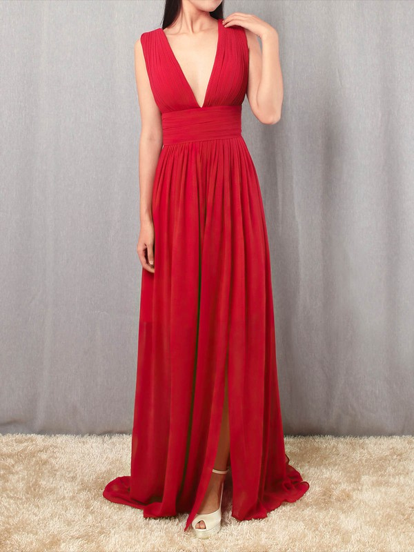 A-line V-neck Chiffon with Ruffles Prom Dress #Favs020105865
