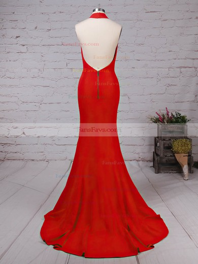 Trumpet/Mermaid Halter Elastic Woven Satin Prom Dress #Favs020105867