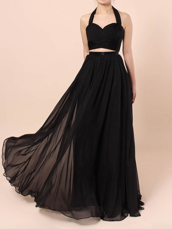 A-line Halter Chiffon with Sashes / Ribbons Prom Dress #Favs020105869