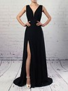 A-line V-neck Chiffon with Split Front Prom Dress #Favs020105871